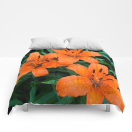Wet Orange Tiger Lily Comforters