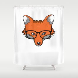 Smart Fox With Glasses Fox Lover Gift Shower Curtain