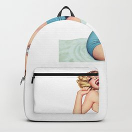 Nostalgic Pin Up Girls Blond Hair Woman Yawning Bachelor Party Pinup Girl Backpack