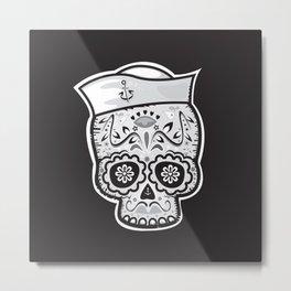 Marinero muerto sugar skull Metal Print