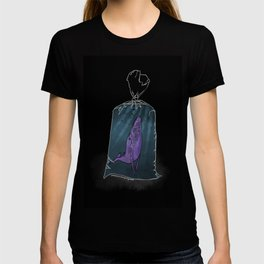 Purple whale in a plastic bag T-shirt