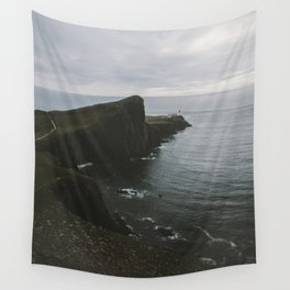 Neist Point Lighthouse at the Atlantic Ocean - Landscape Photography Wall Tapestry