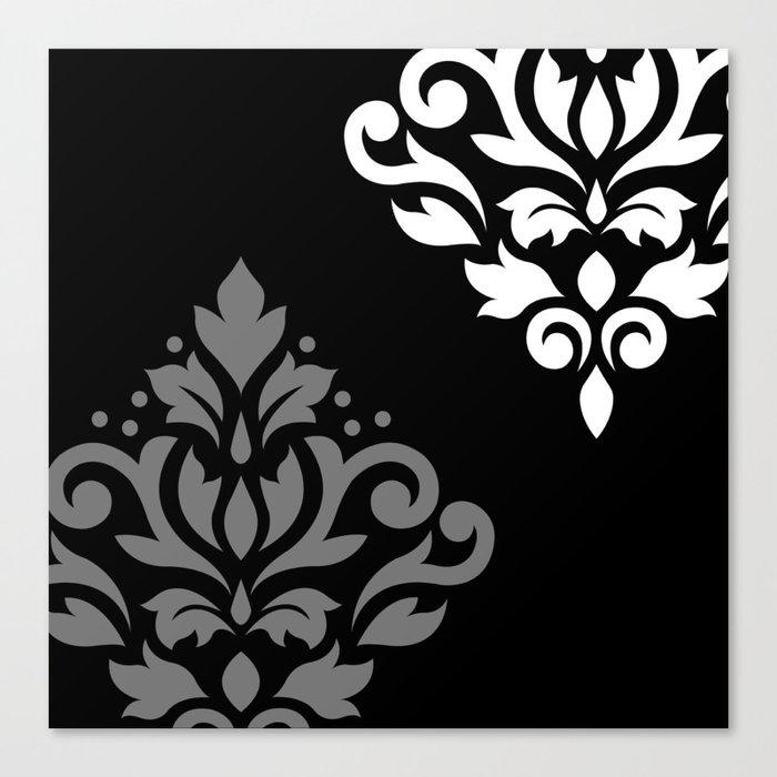 Scroll Damask Art I Black Grey White Leinwanddruck