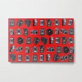 Vintage Cameras on Red Metal Print