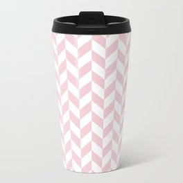 Pink and White Herringbone Pattern Metal Travel Mug