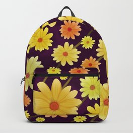 Yellow dots, Yellow Flower, Floral Pattern, Yellow Blossom Backpack