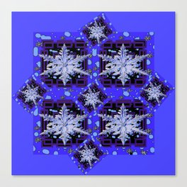 BLUE WINTER HOLIDAY SNOWFLAKES PATTERN ART Canvas Print