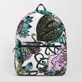 Hand painted pink teal lavender green watercolor floral Backpack