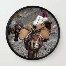 Mules Climbing Thorung La Wall Clock