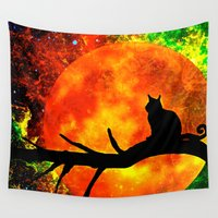 black cat Wall Tapestries featuring Black Cat by Saundra Myles