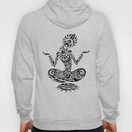 Tara. Yoga, Meditation lotus pose. Hand Drawn Illustration. Polynesian style tattoo. Hoody