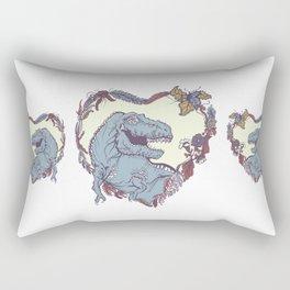 T-Rex Heart - Blue & Red Rectangular Pillow