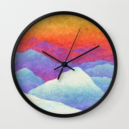 Hilly Lands - rainbow-colored Wall Clock