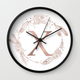 Letter X Rose Gold Pink Initial Monogram Wall Clock