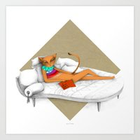 napping while reading Art Print