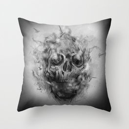 Flaming Skull Throw Pillow