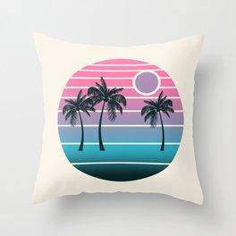 Dude! - retro 70s throwback minimal sunset beach tropical palm trees 1970's minimalism decor socal Throw Pillow