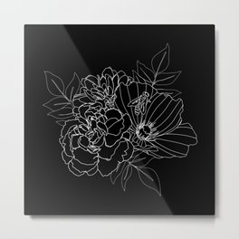 Floral Arrangement - White on Black Metal Print