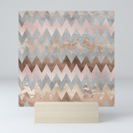 Rose Gold Chevron Glitter Glamour Marble Gem Mini Art Print