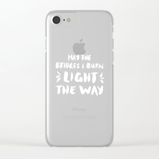Burned Bridges – Black & White Clear iPhone Case