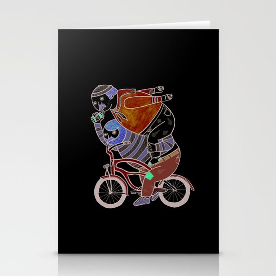 On how bicycle riders utilize team work in certain situations. Stationery Cards