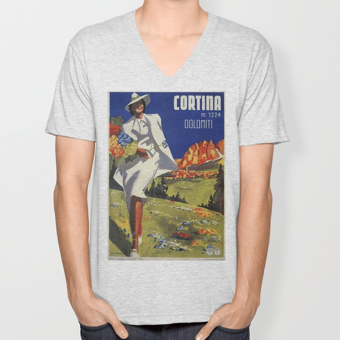 Vintage Italian Alps Cortina summer travel Unisex V-Neck