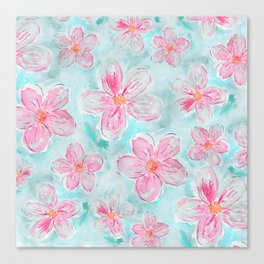 Hand painted teal fuchsia watercolor floral Canvas Print