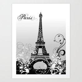Eiffel Tower Paris (B/W) Art Print