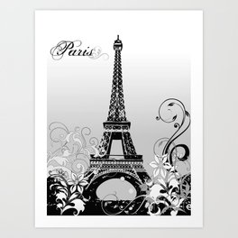 Eiffel Tower Paris (B/W) Art Print