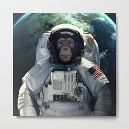 chimpanzee astronaut and space dust in the universe Metal Print