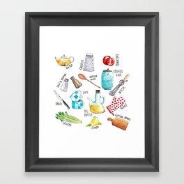 Kitchen set illustration Framed Art Print