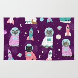 Space Cats pet portraits cute cat gifts cat lady outer space cadet rockets Rug