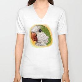Green quaker parrot realistic painting Unisex V-Neck