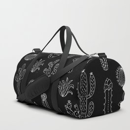 Cactus Silhouette White And Black Duffle Bag