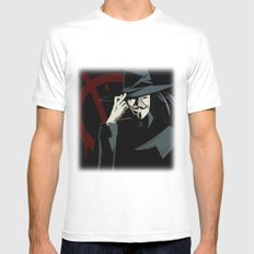 V for Vendetta (e1) Mens Fitted Tee White MEDIUM