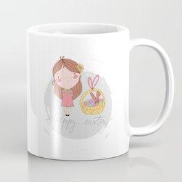 Happy Easter Girl with a Basket Art Coffee Mug
