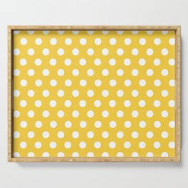 White Polka Dots on Yellow Serving Tray