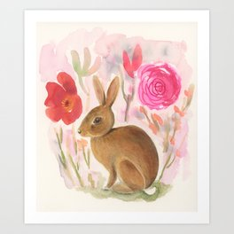Cottontail Rabbit in the Garden Art Print