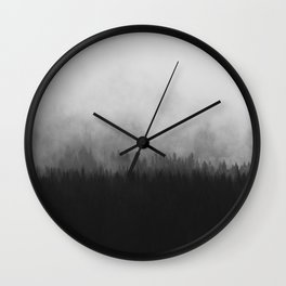 Minimalist Modern Black And white photography Landscape Misty Black Pine Forest Watercolor Effect Sp Wall Clock