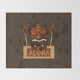 Vintage Wood Tiki Aloha Throw Blanket