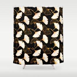 Ginkgo Leaf (Golden Calico) - Black Shower Curtain