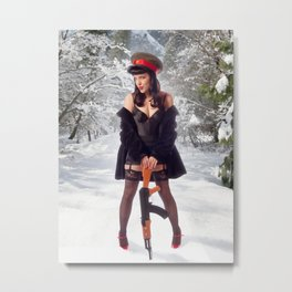 """""""Sovietsky on Ice"""" - The Playful Pinup - Russian Theme Pin-up Girl in Snow by Maxwell H. Johnson Metal Print"""