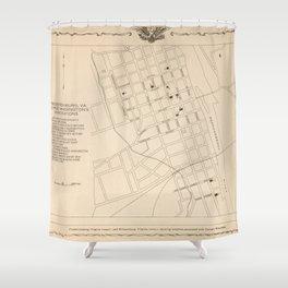 Vintage Fredericksburg VA George Washington Sites Map (1932) Shower Curtain