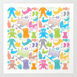 seamless pattern with baby icons Art Print