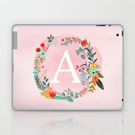 Flower Wreath with Personalized Monogram Initial Letter A on Pink Watercolor Paper Texture Artwork Laptop & iPad Skin