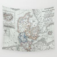 denmark Wall Tapestries featuring Vintage Map of Denmark (1862) by BravuraMedia