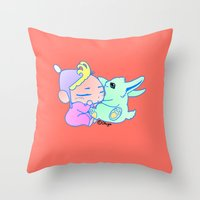 magical girl Throw Pillows featuring Magical pet (Baby Girl) by Olluga