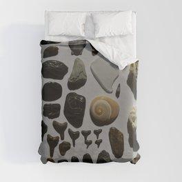 Beach Day Fossils Duvet Cover