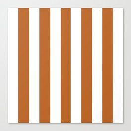 Ruddy brown - solid color - white vertical lines pattern Canvas Print