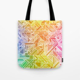 Bright Gradient (Hot Pink Orange Green Yellow Blue) Geometric Pattern Print Tote Bag
